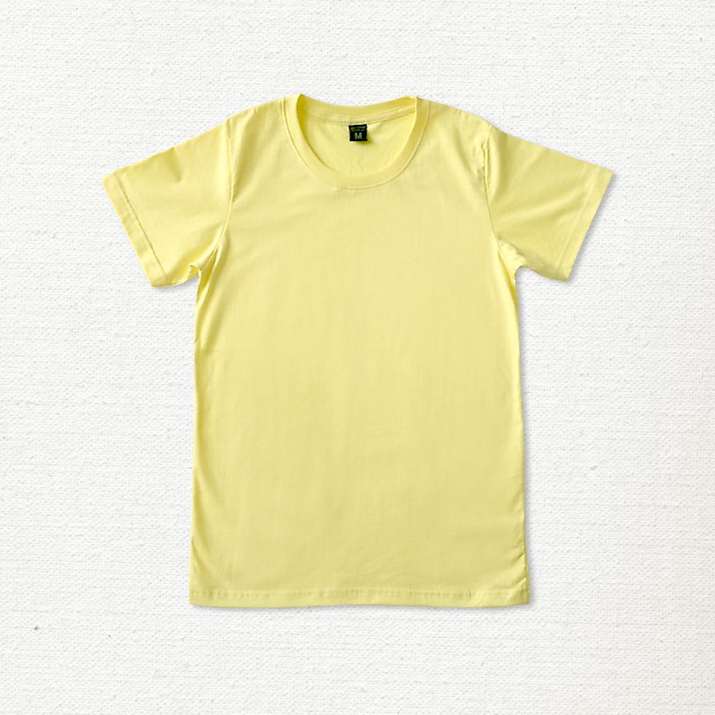 เสื้อยืด ผ้าคอตตอน คอกลม – สีเหลืองอ่อน - AmuseSilkscreen.com